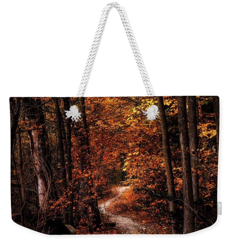 Landscape Weekender Tote Bag featuring the photograph The Narrow Path by Scott Norris