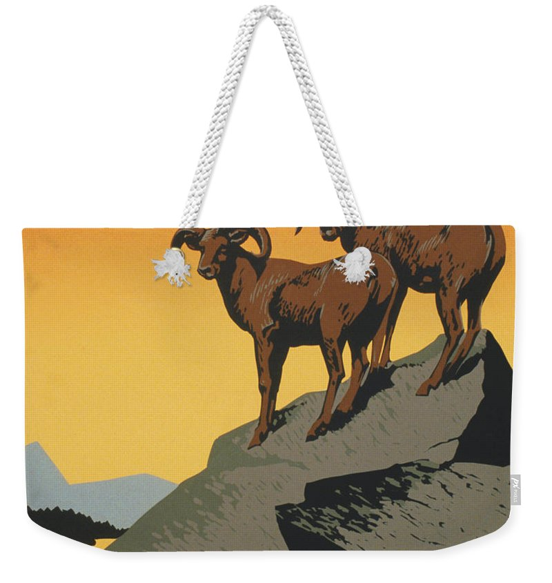 The National Parks Preserve Wild Life Weekender Tote Bag featuring the painting The National Parks Preserve Wild Life Vintage Travel Poster by R Muirhead Art