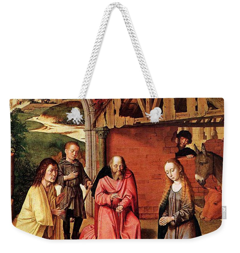 Nativity Weekender Tote Bag featuring the painting The Nativity By Gerard David by Munir Alawi