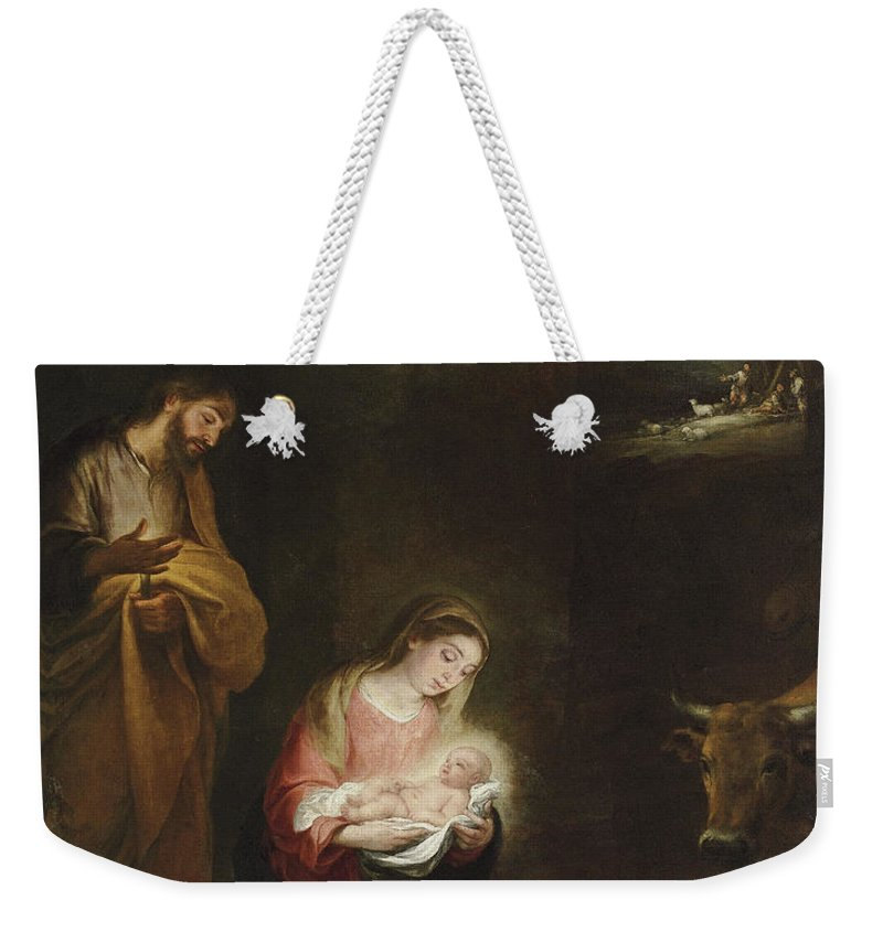 Murillo Weekender Tote Bag featuring the painting The Nativity With The Annunciation To The Shepherds Beyond by Bartolome Esteban Murillo