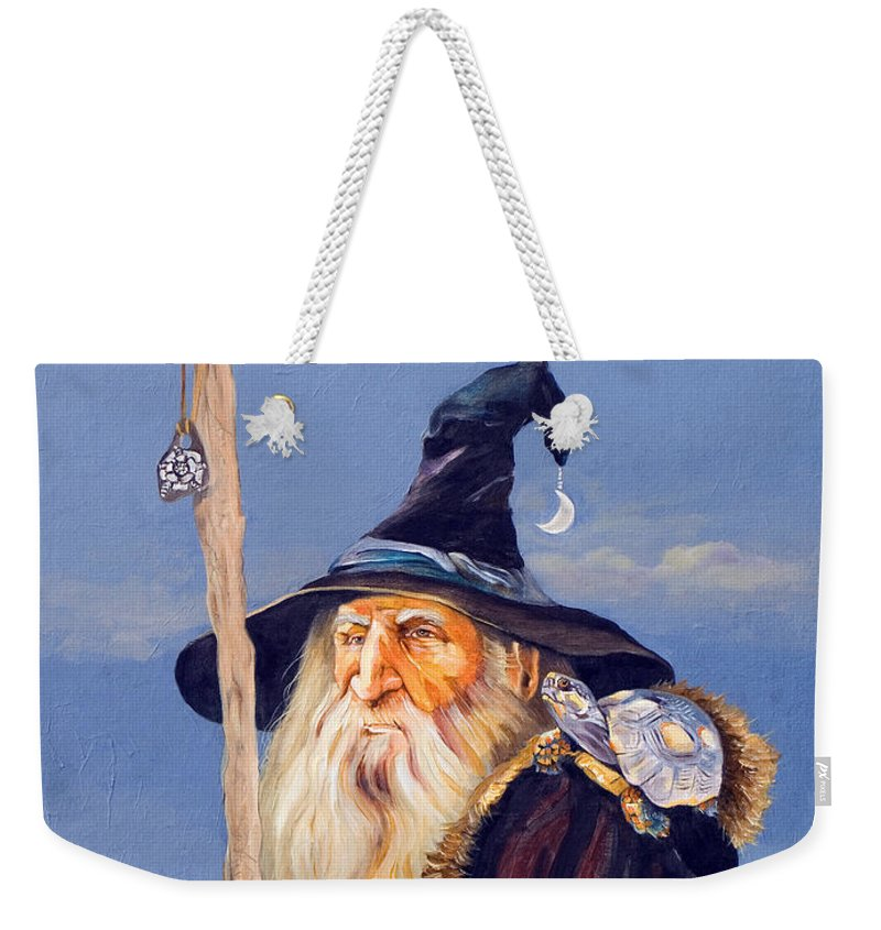 Wizard Weekender Tote Bag featuring the painting The Navigator by J W Baker