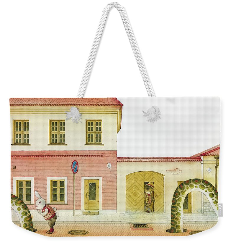 Snake Street Illustration Watercolor Children Book Old Town Rabbit Weekender Tote Bag featuring the painting The Neighbor around the Corner04 by Kestutis Kasparavicius