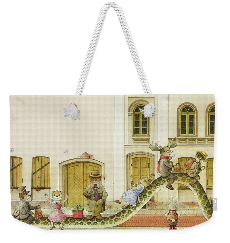 Snake Buss Stop Old Town Street Animals House Traffic Illustration Children Book Rabbit Fox Bear Cat Deer Dog Goat Owl Weekender Tote Bag featuring the painting The Neighbor around the Corner07 by Kestutis Kasparavicius