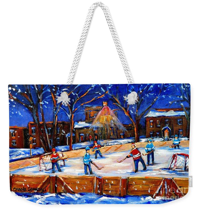Montreal Weekender Tote Bag featuring the painting The Neighborhood Hockey Rink by Carole Spandau