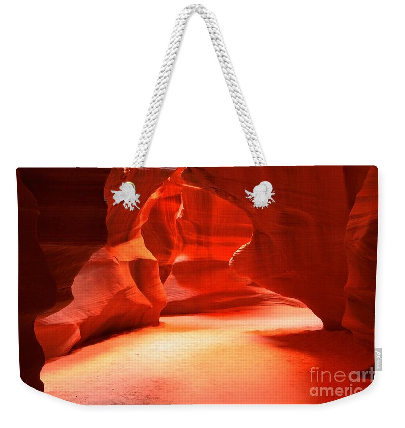 Upper Antelope Weekender Tote Bag featuring the photograph The Neon Room by Adam Jewell