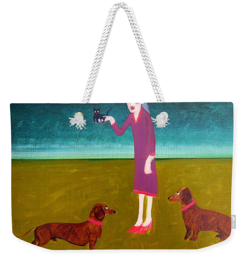 Dachshunds Weekender Tote Bag featuring the painting The New Addition by Bonita Barlow