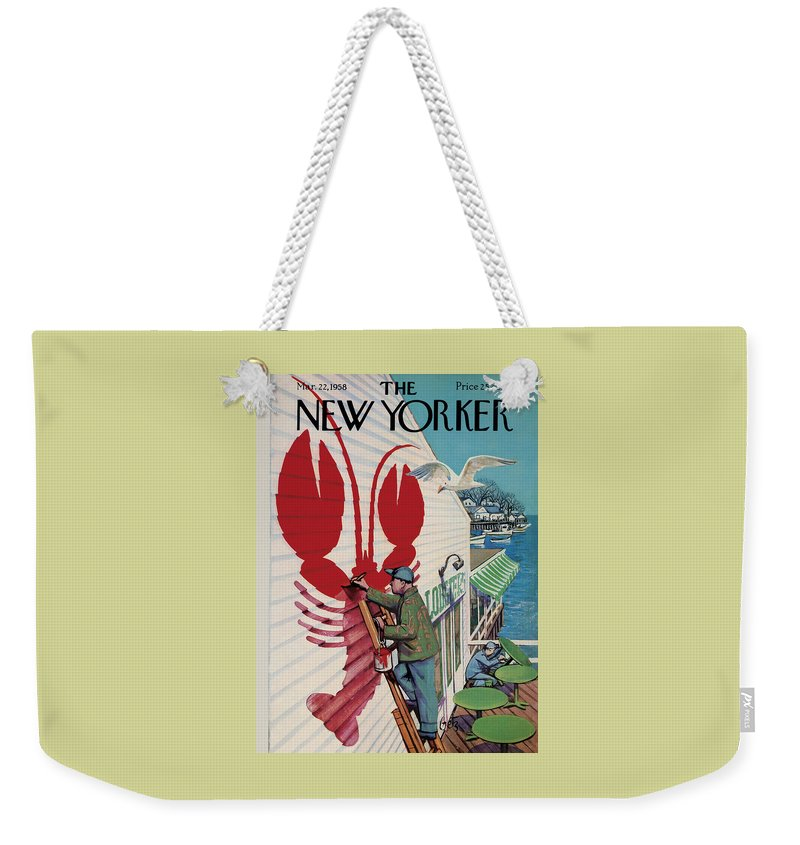 Food Weekender Tote Bag featuring the photograph The New Yorker Cover - March 22, 1958 by Arthur Getz