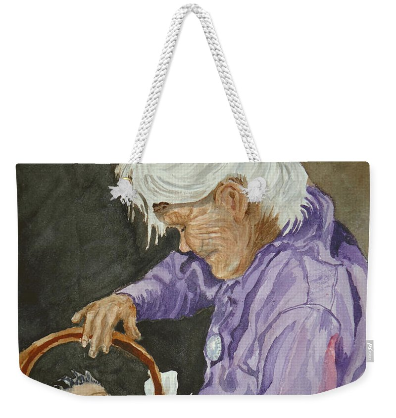 Navajo Weekender Tote Bag featuring the painting The Next Generation by Charme Curtin