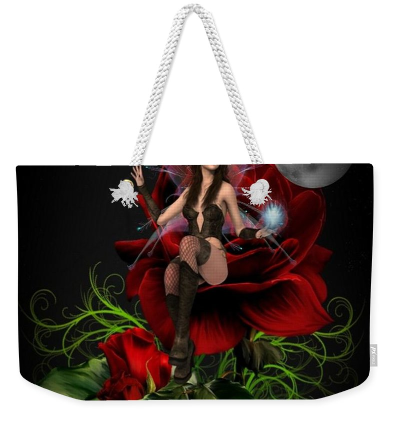 Mystic Weekender Tote Bag featuring the digital art The Night Fairy 2 by Ali Oppy