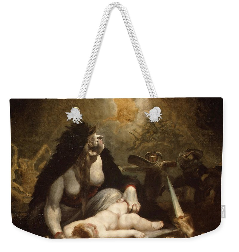 Henry Fuseli Weekender Tote Bag featuring the painting The Night-hag Visiting Lapland Witches by Henry Fuseli