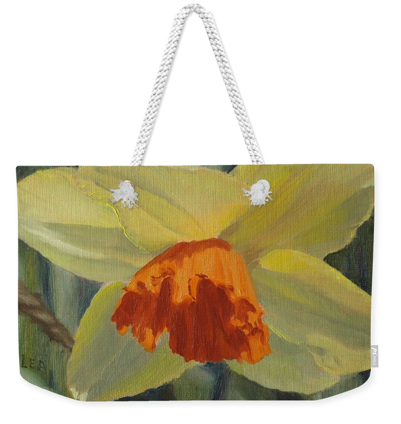 Flower Weekender Tote Bag featuring the painting The Nodding Daffodil by Lea Novak