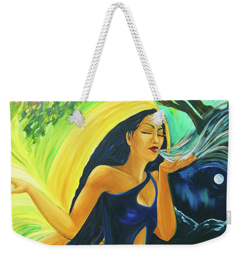 Goddess Weekender Tote Bag featuring the painting The Oak Queen by Jennifer Christenson