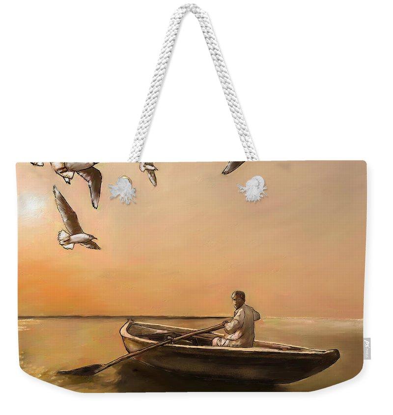 Figure Weekender Tote Bag featuring the digital art The Oarsman by Scott Bowlinger