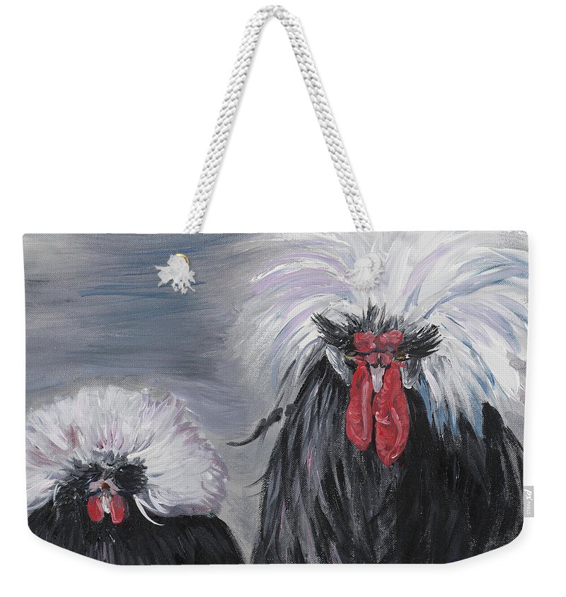Odd Chickens With Wild Hair Weekender Tote Bag featuring the painting The Odd Couple by Nadine Rippelmeyer