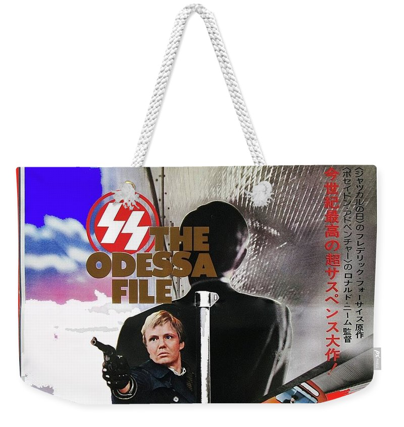 The Odessa File Jon Voight Foreign Theatrical Poster 1974 Color Added 2016 Weekender Tote Bag featuring the photograph The Odessa File Jon Voight Foreign Theatrical Poster 1974 Color Added 2016 by David Lee Guss