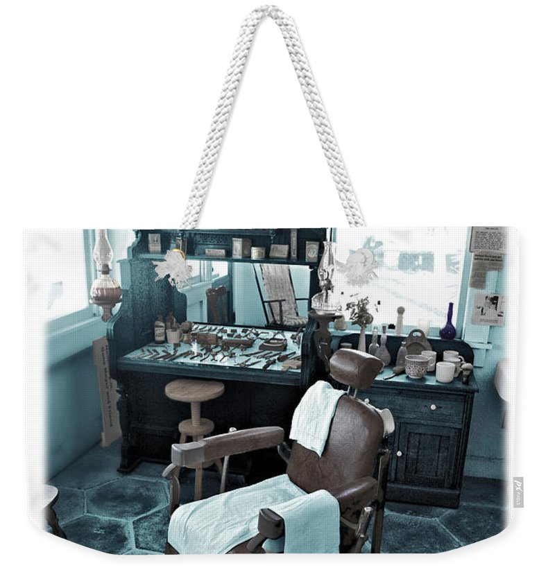 Barber Weekender Tote Bag featuring the photograph The Old American Barbershop by Mal Bray