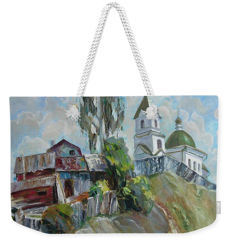 Oil Weekender Tote Bag featuring the painting The Old And New by Sergey Ignatenko