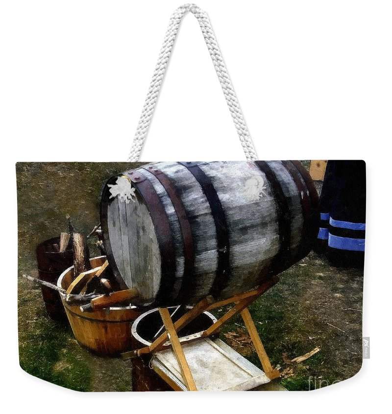 Antique Weekender Tote Bag featuring the painting The Old Beer Barrel by RC DeWinter