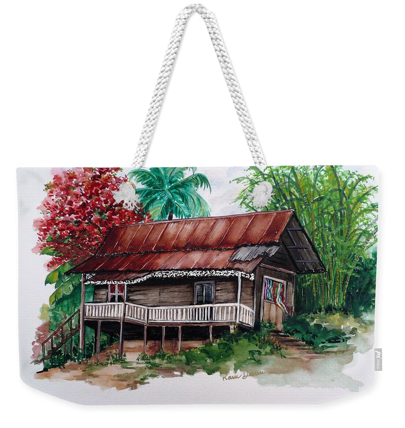 Tropical Painting Poincianna Painting Caribbean Painting Old House Painting Cocoa House Painting Trinidad And Tobago Painting  Tropical Painting Flamboyant Painting Poinciana Red Greeting Card Painting Weekender Tote Bag featuring the painting The Old Cocoa House by Karin Dawn Kelshall- Best