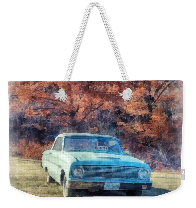 Watercolor Weekender Tote Bag featuring the painting The Old Ford On The Side Of The Road by Edward Fielding