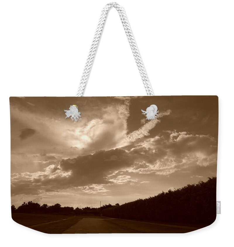Sepia Weekender Tote Bag featuring the photograph The Old Homestead by Rob Hans
