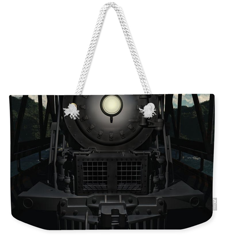 Trains Weekender Tote Bag featuring the digital art The Old Iron Bridge by Richard Rizzo
