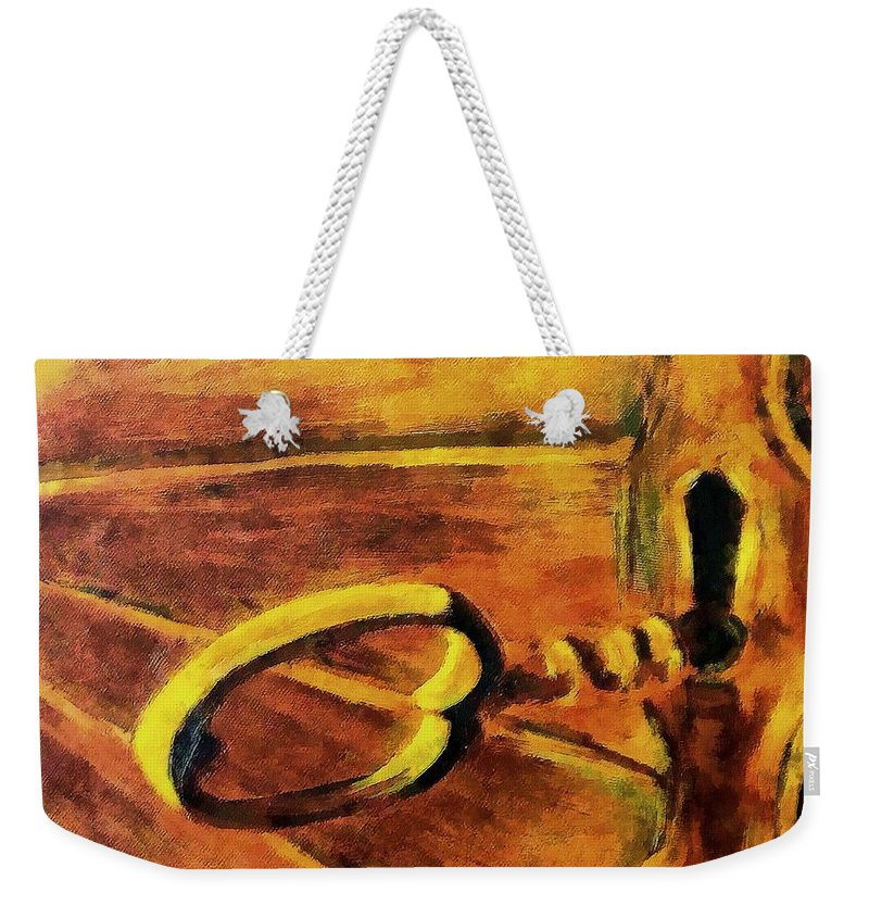 Lock Weekender Tote Bag featuring the painting The Old Lock by Dragica Micki Fortuna
