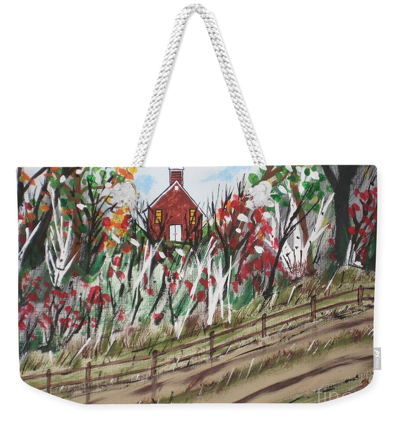 Church Weekender Tote Bag featuring the painting The Old Red Church by Jeffrey Koss