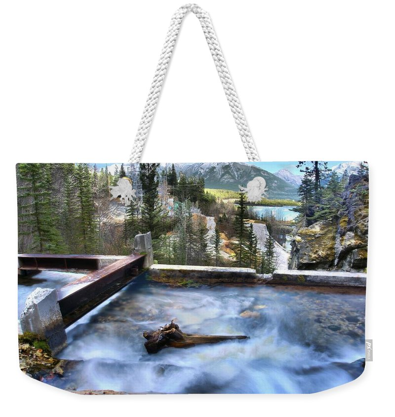 Spray Lake Falls Weekender Tote Bag featuring the photograph The Old Penstock Platform? by Ken McMullen