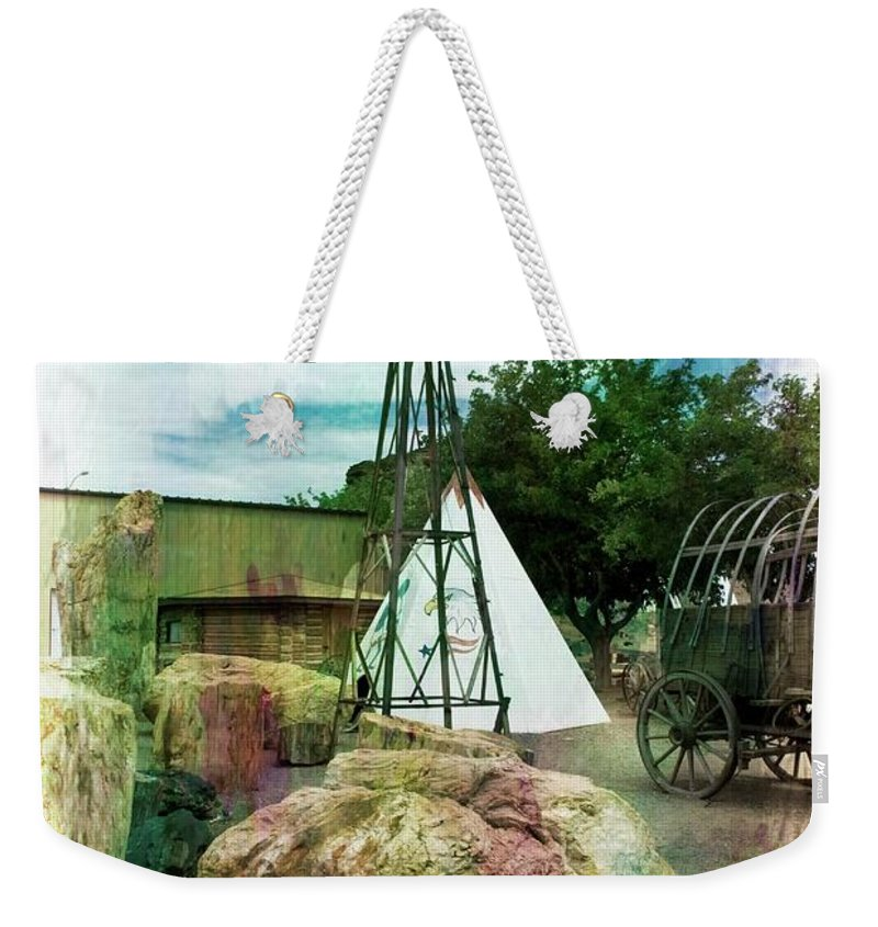 Old West Weekender Tote Bag featuring the mixed media The Old West by Bob Pardue