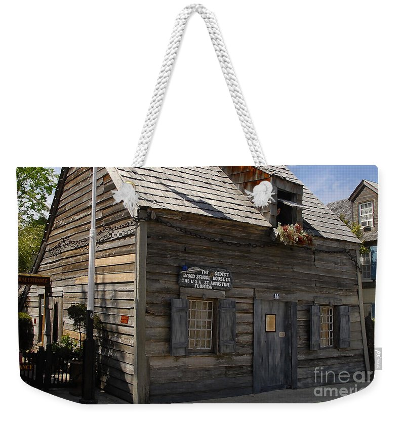 Saint Augustine Florida Weekender Tote Bag featuring the photograph The Oldest School House by David Lee Thompson