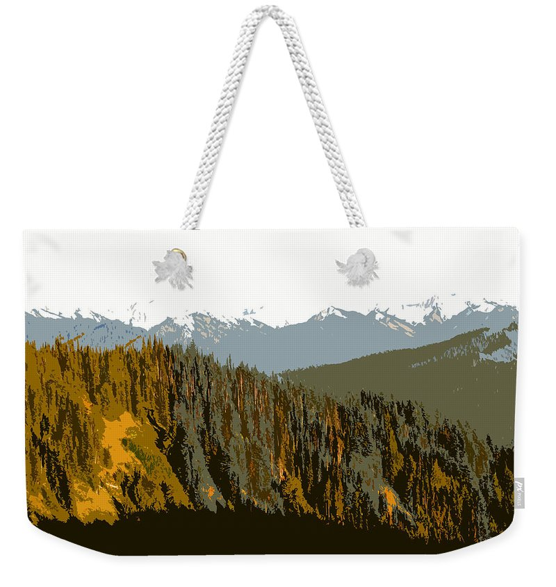 Olympic Mountains Weekender Tote Bag featuring the painting The Olympic Mountains by David Lee Thompson