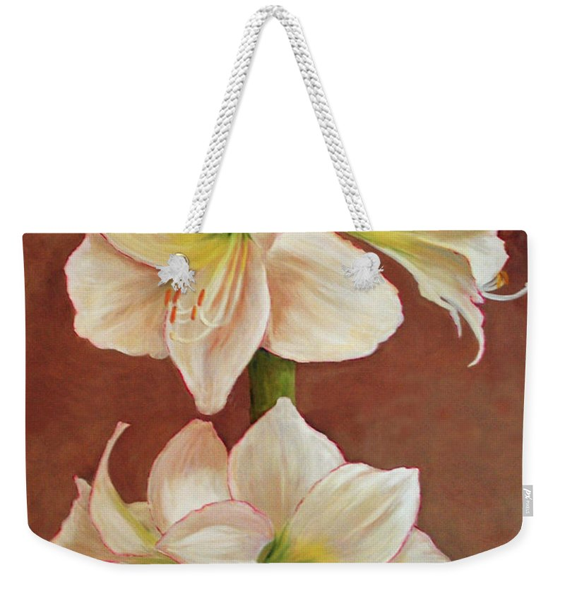 Flower Weekender Tote Bag featuring the painting The Opening Flower by Carolyn Shireman