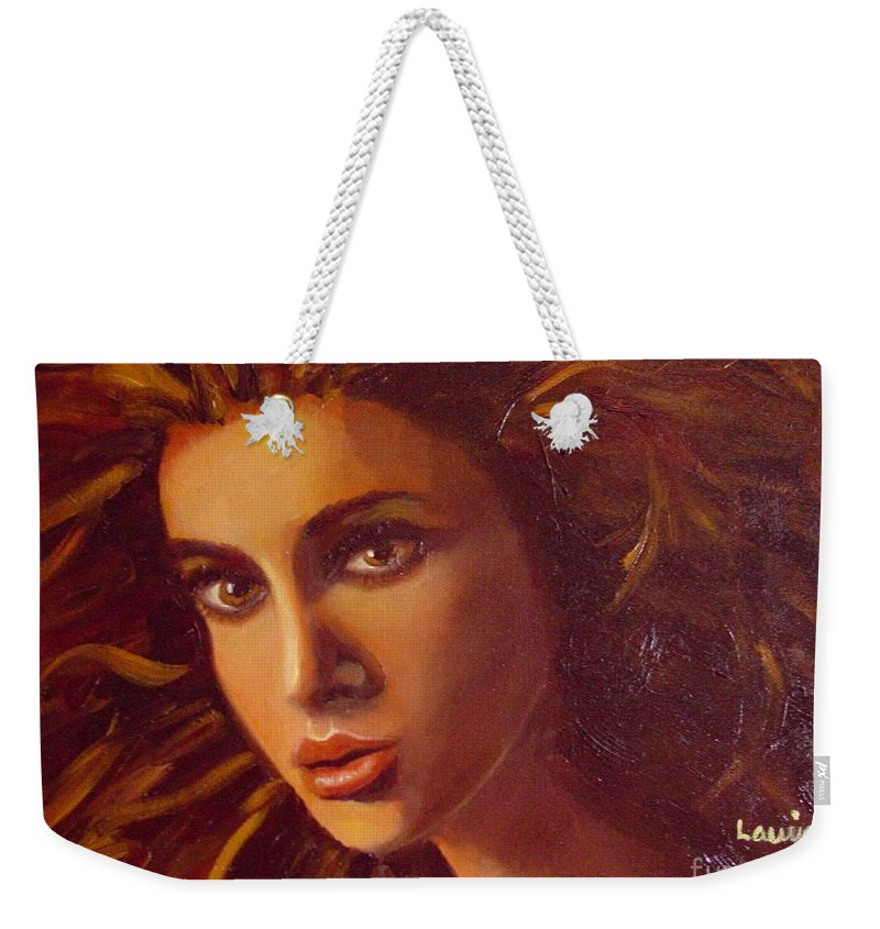 Portrait Weekender Tote Bag featuring the painting The Oracle by Laurie Morgan