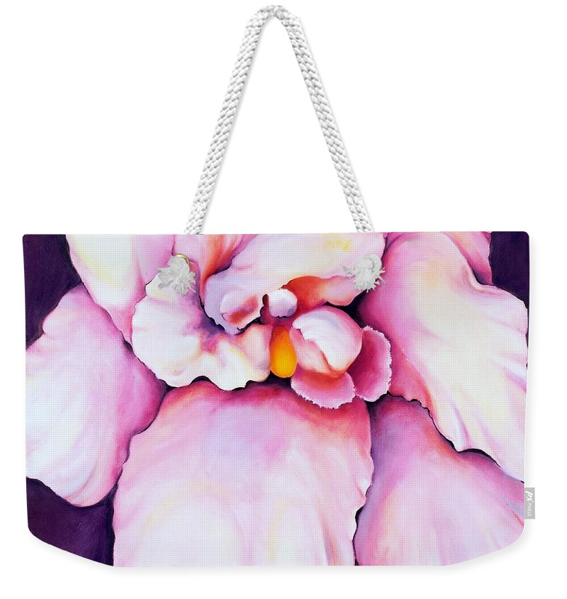 Orcdhid Bloom Artwork Weekender Tote Bag featuring the painting The Orchid by Jordana Sands