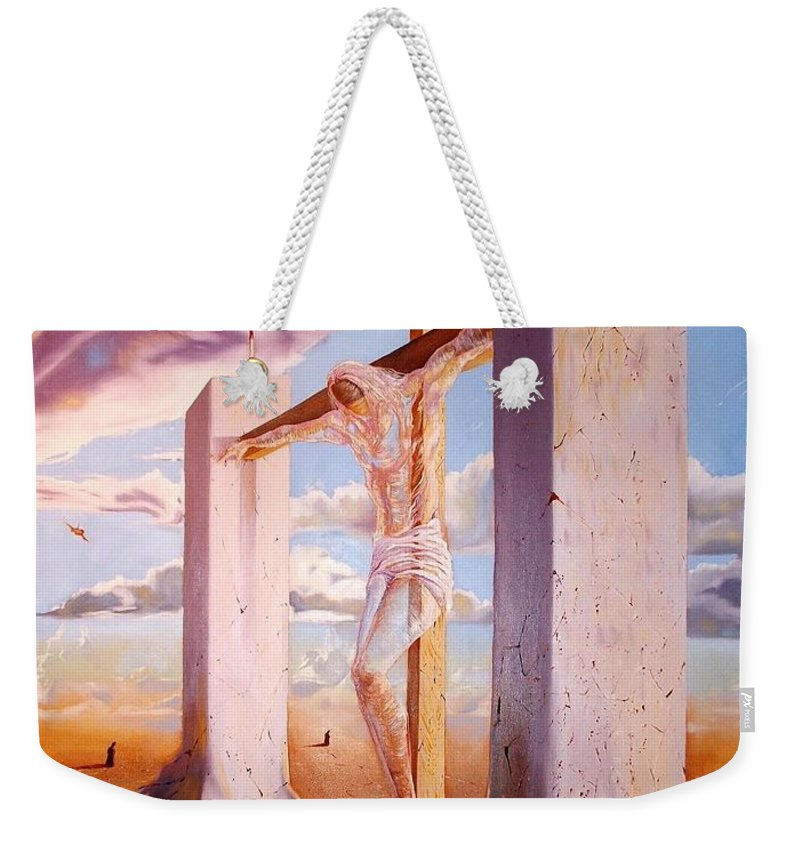 911 Weekender Tote Bag featuring the painting The Pain Holder by Darwin Leon