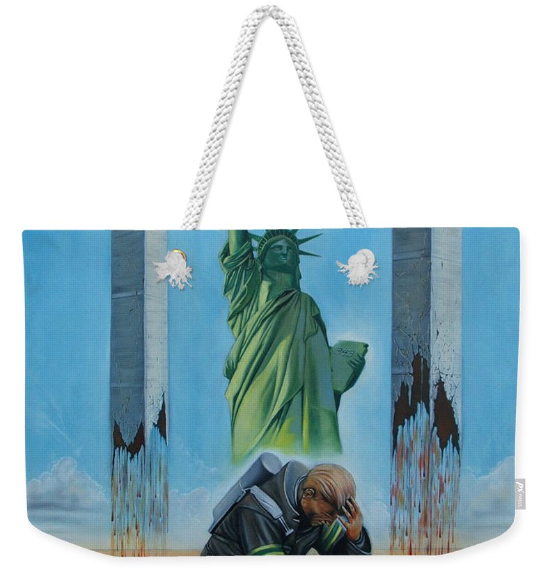 Surrealism Weekender Tote Bag featuring the painting The Pain Holder II by Darwin Leon