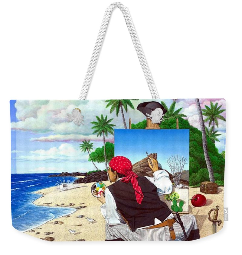 Pirate Weekender Tote Bag featuring the painting The Painting Pirate by Snake Jagger