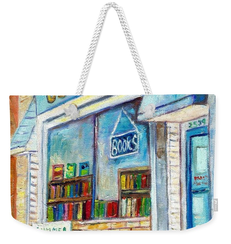 Book Store Weekender Tote Bag featuring the painting The Paperbacks Plus Book Store St Paul Minnesota by Carole Spandau