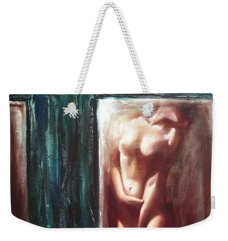 Ignatenko Weekender Tote Bag featuring the painting The parallel world by Sergey Ignatenko