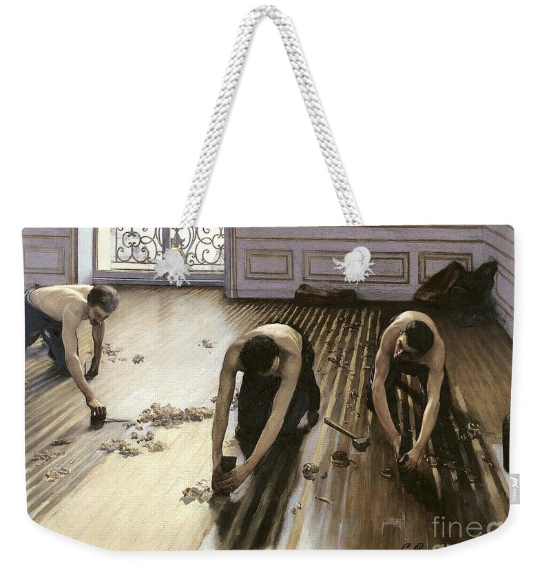 Gustave Caillebotte Weekender Tote Bag featuring the painting The Parquet Planers by Gustave Caillebotte