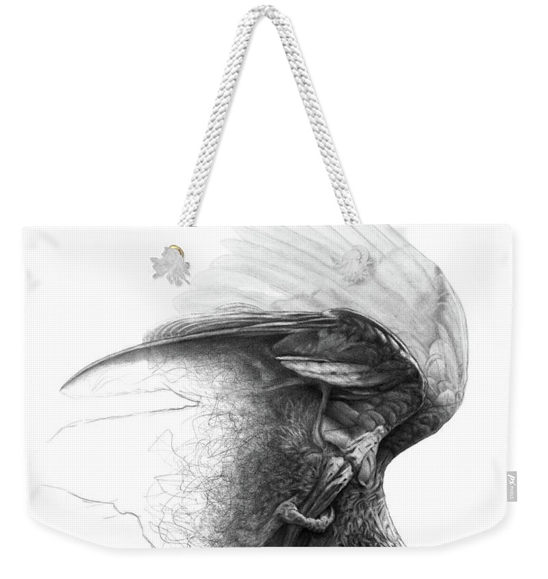 Parrot Weekender Tote Bag featuring the drawing The Parrot by Christian Klute