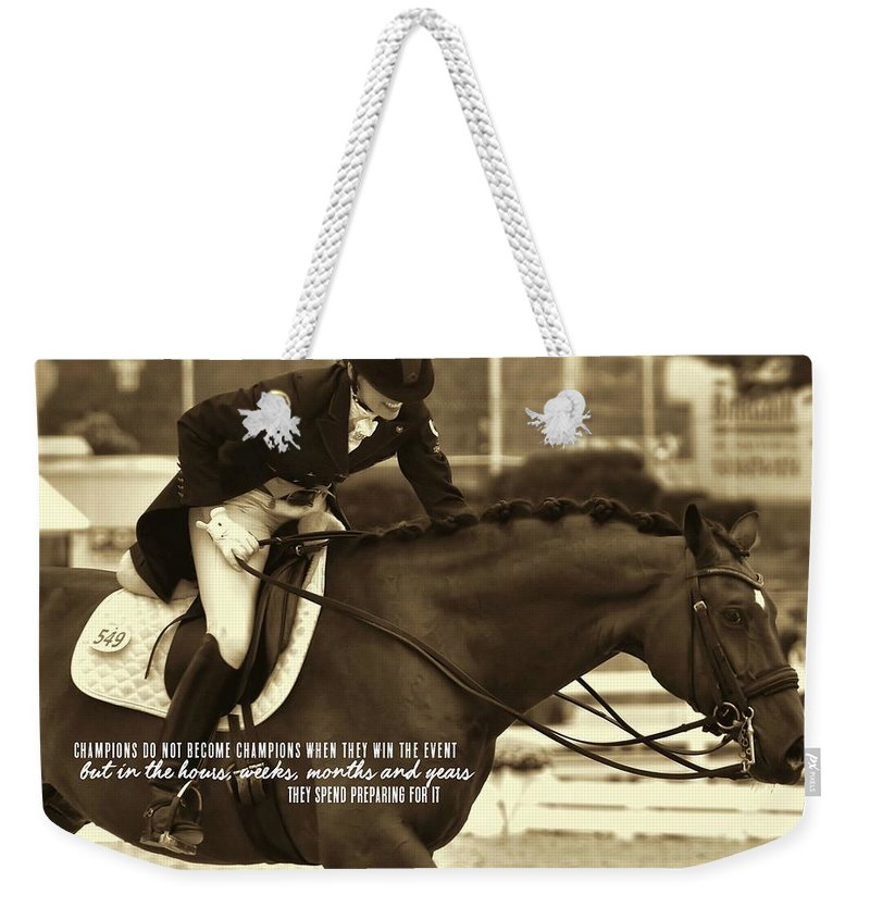 Horse Weekender Tote Bag featuring the photograph The Partnership Quote by JAMART Photography