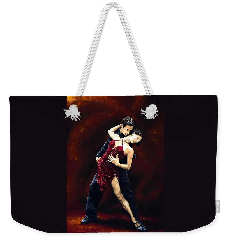 Tango Weekender Tote Bag featuring the painting The Passion of Tango by Richard Young