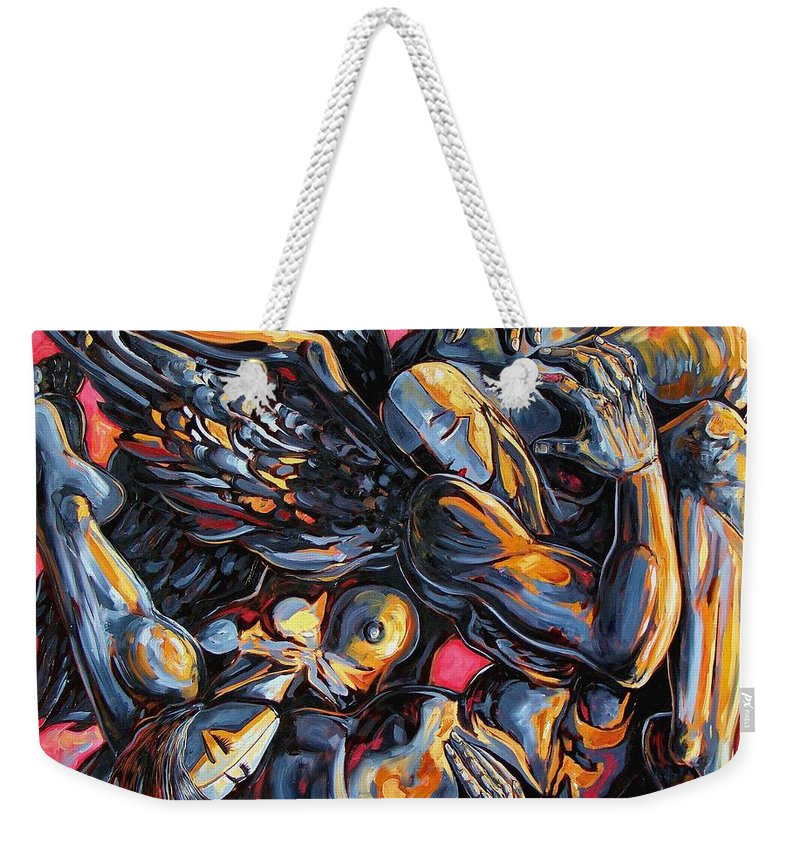 Surrealism Weekender Tote Bag featuring the painting The Passion Of The Fallen by Darwin Leon
