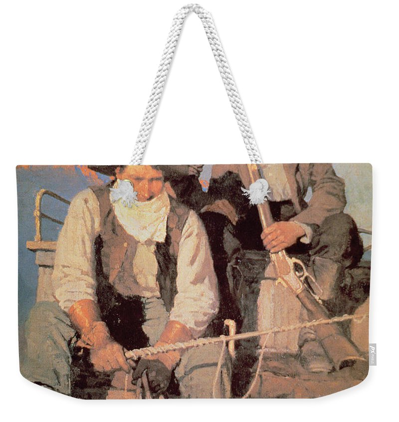 The Pay Stage Weekender Tote Bag featuring the painting The Pay Stage by Newell Convers Wyeth