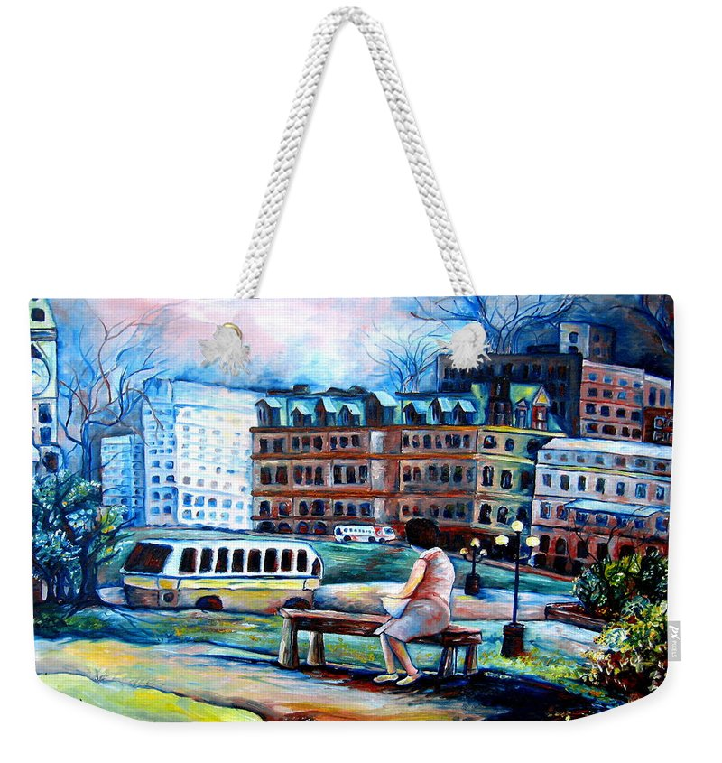 Ottawa Peace Tower City Scenes Weekender Tote Bag featuring the painting The Peace Tower In Ottawa by Carole Spandau