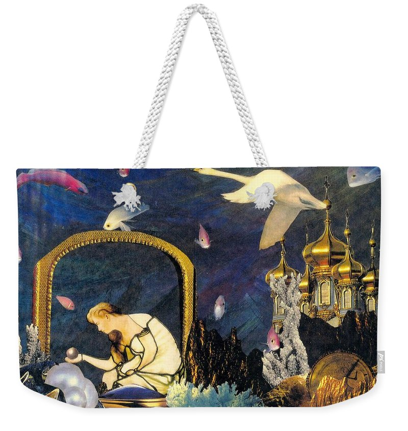 Surealism Weekender Tote Bag featuring the mixed media The Pearl Of Great Price by Gail Kirtz