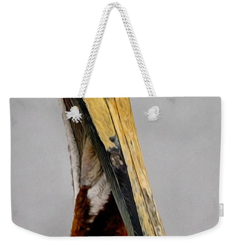 California Weekender Tote Bag featuring the digital art The Pelican by Ernie Echols