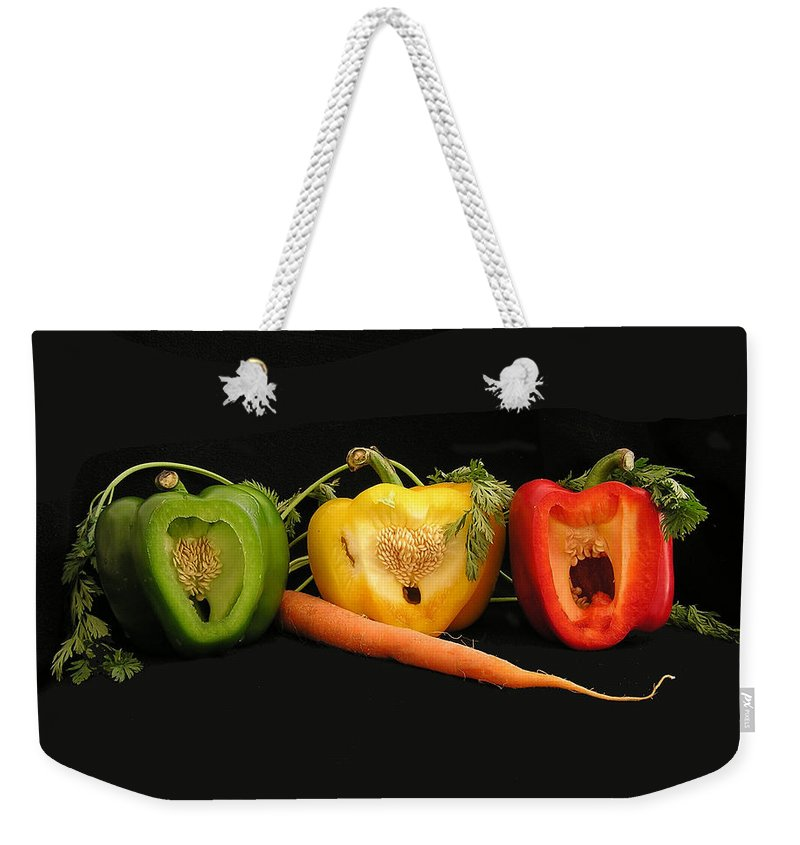 Pepper Weekender Tote Bag featuring the photograph The Pepper Trio by Carol Milisen